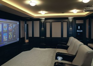 Home theater in Custom Home Kansas City