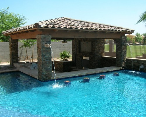 Install an inviting great swim up bar design forner lavoy for Pool design with bar