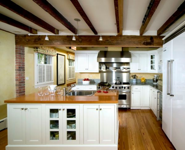 Bring a rustic look to the kitchen with exposed ceiling - Ceiling designs with beams ...